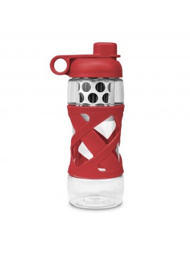 650ML PLASTIC FILTER BOTTLE WITH SLEEVE  - RED