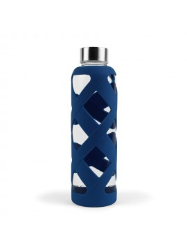 550ML PREMIUM BOROSILICATE GLASS BOTTLE WITH SLEEVE - NAVY