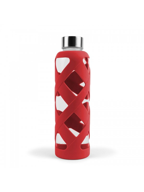 550ML PREMIUM BOROSILICATE GLASS BOTTLE WITH SLEEVE - RED