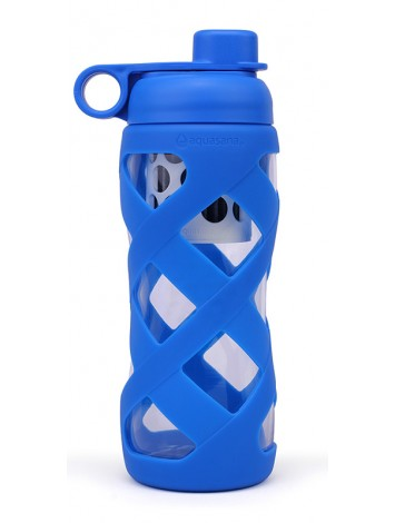 650ML GLASS FILTER BOTTLE WITH SLEEVE - BLUE